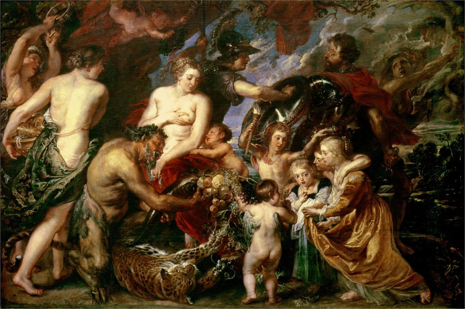 BAL21473 Minerva Protects Pax from Mars (Peace and War), 1629-30 (oil on canvas) by Rubens, Peter Paul (1577-1640); 203.5x298 cm; National Gallery, London, UK; Flemish, out of copyright